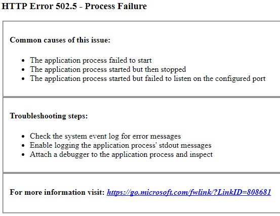 Screenshot of HTTP 502.5 error